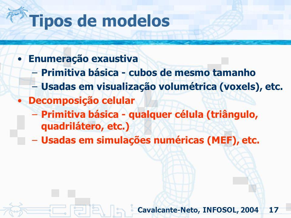 17 Tipos de modelos Enumeração exaustiva –Primitiva básica - cubos de mesmo tamanho –Usadas em visualização volumétrica (voxels), etc. Decomposição ce