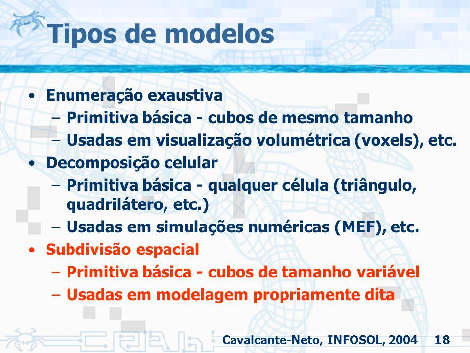 18 Tipos de modelos Enumeração exaustiva –Primitiva básica - cubos de mesmo tamanho –Usadas em visualização volumétrica (voxels), etc. Decomposição ce