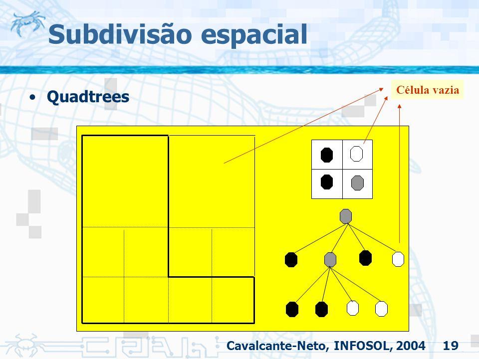 19 Subdivisão espacial Quadtrees Célula vazia Cavalcante-Neto, INFOSOL, 2004