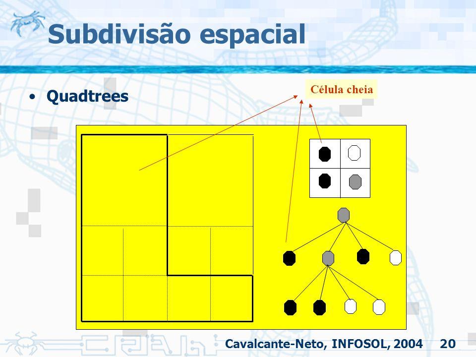 20 Subdivisão espacial Quadtrees Célula cheia Cavalcante-Neto, INFOSOL, 2004
