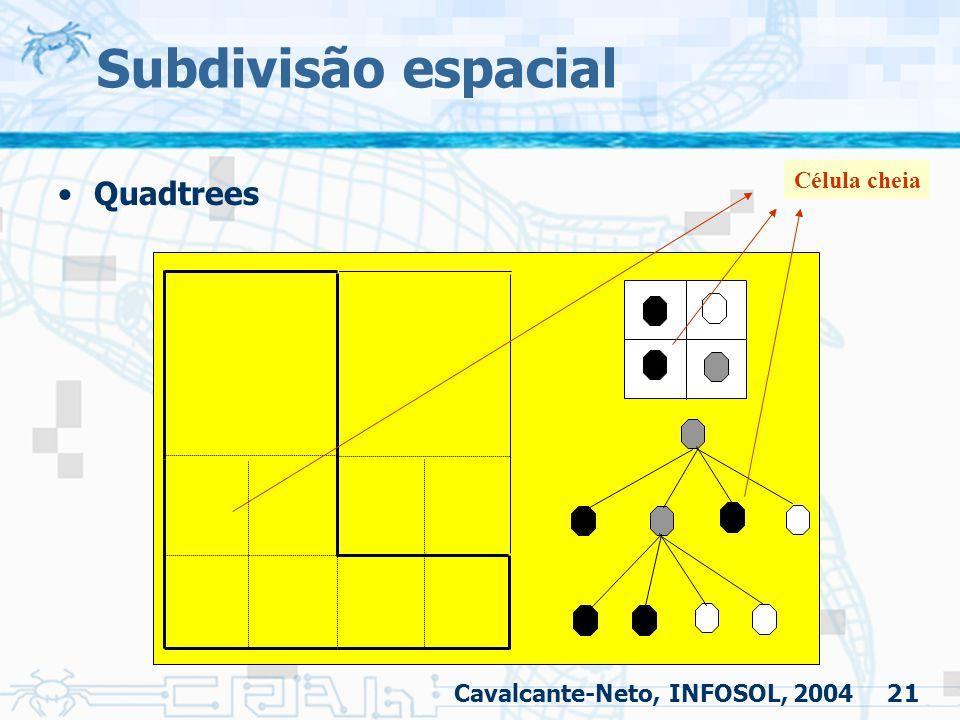 21 Subdivisão espacial Quadtrees Célula cheia Cavalcante-Neto, INFOSOL, 2004