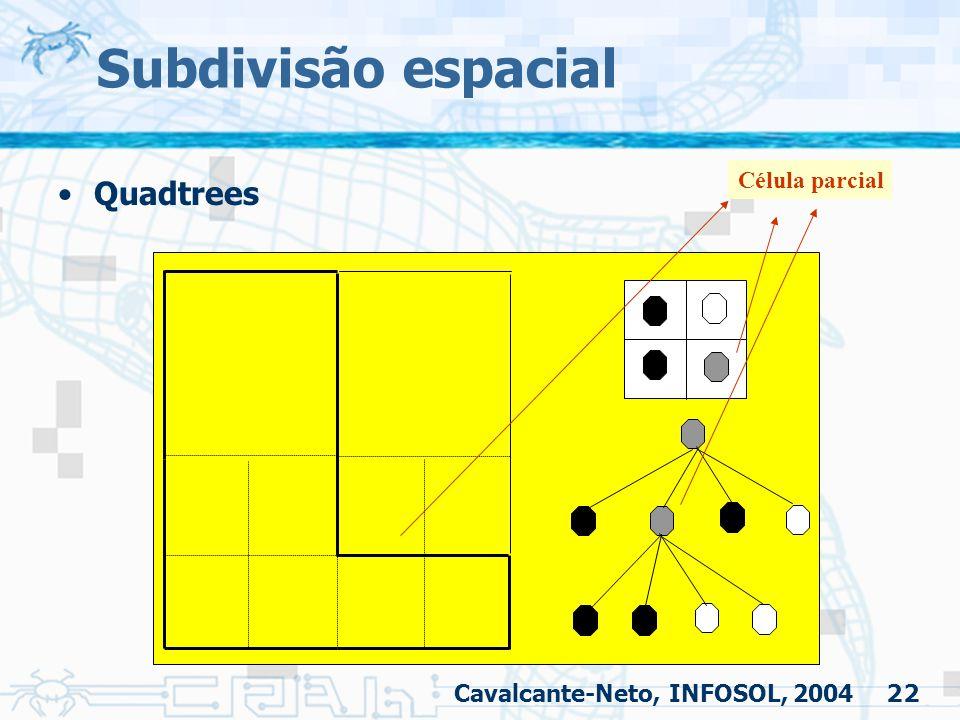 22 Subdivisão espacial Quadtrees Célula parcial Cavalcante-Neto, INFOSOL, 2004