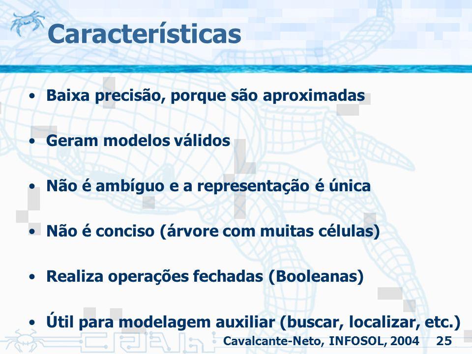 25 Características Baixa precisão, porque são aproximadas Geram modelos válidos Não é ambíguo e a representação é única Não é conciso (árvore com muit