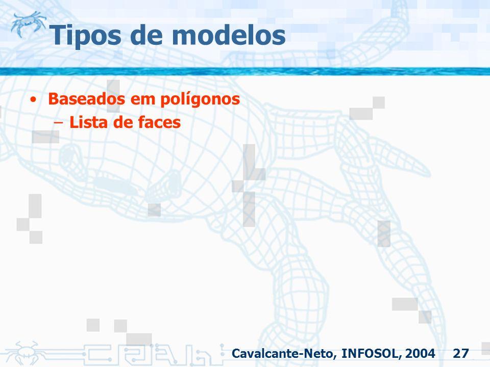 27 Tipos de modelos Baseados em polígonos –Lista de faces Cavalcante-Neto, INFOSOL, 2004