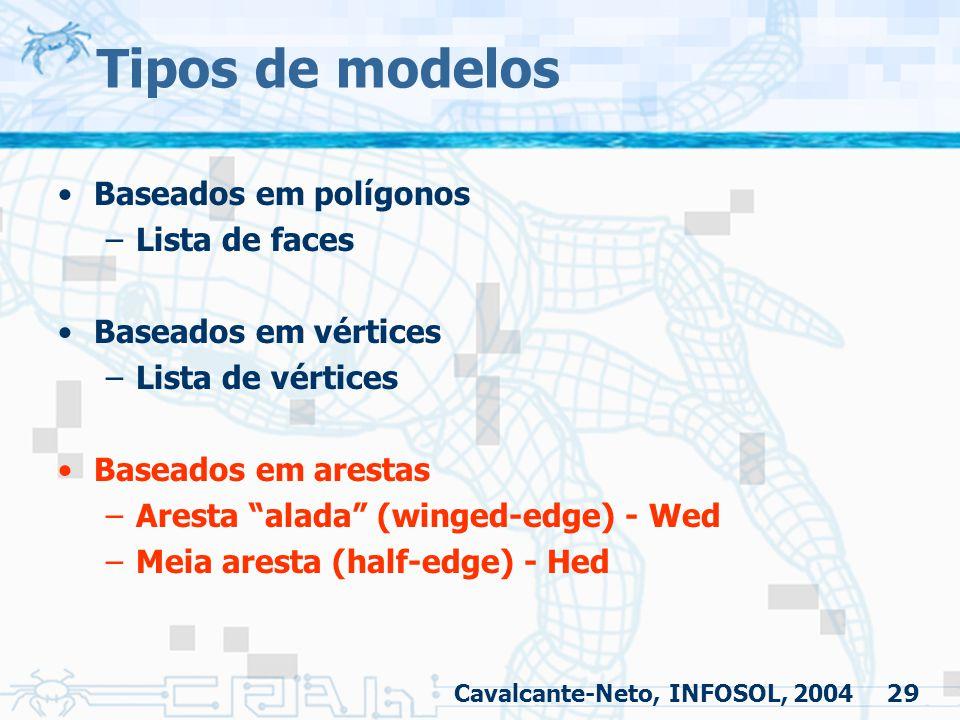 """29 Tipos de modelos Baseados em polígonos –Lista de faces Baseados em vértices –Lista de vértices Baseados em arestas –Aresta """"alada"""" (winged-edge) -"""