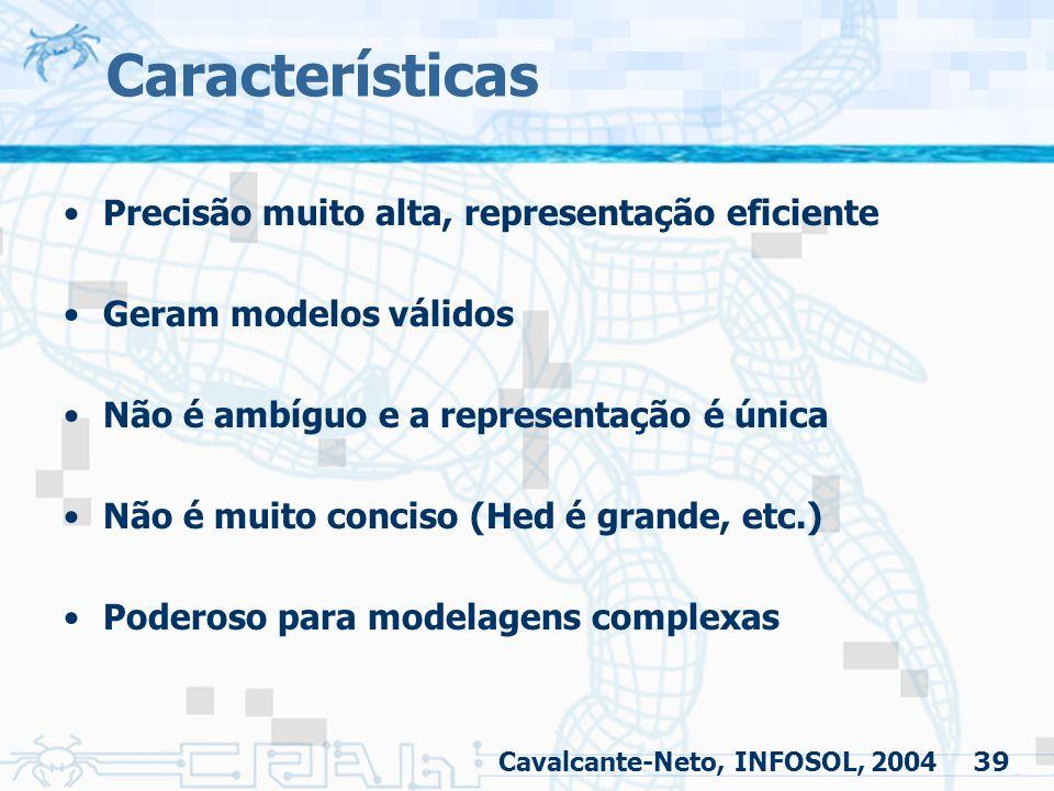 39 Características Precisão muito alta, representação eficiente Geram modelos válidos Não é ambíguo e a representação é única Não é muito conciso (Hed