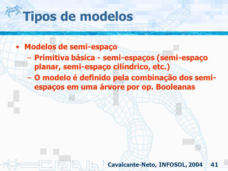 41 Tipos de modelos Modelos de semi-espaço –Primitiva básica - semi-espaços (semi-espaço planar, semi-espaço cilíndrico, etc.) –O modelo é definido pe