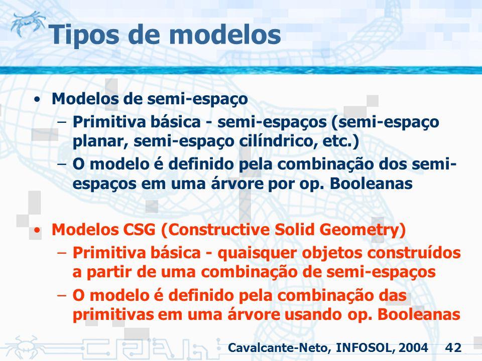42 Tipos de modelos Modelos de semi-espaço –Primitiva básica - semi-espaços (semi-espaço planar, semi-espaço cilíndrico, etc.) –O modelo é definido pe