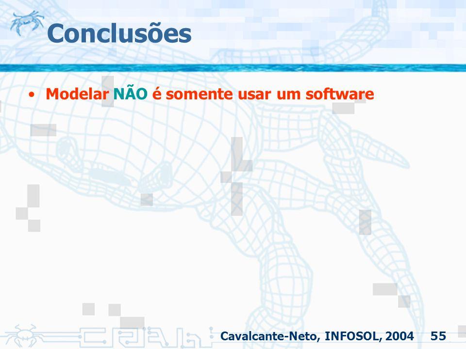 55 Conclusões Modelar NÃO é somente usar um software Cavalcante-Neto, INFOSOL, 2004