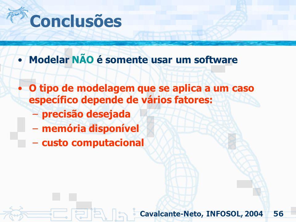 56 Conclusões Modelar NÃO é somente usar um software O tipo de modelagem que se aplica a um caso específico depende de vários fatores: –precisão desej