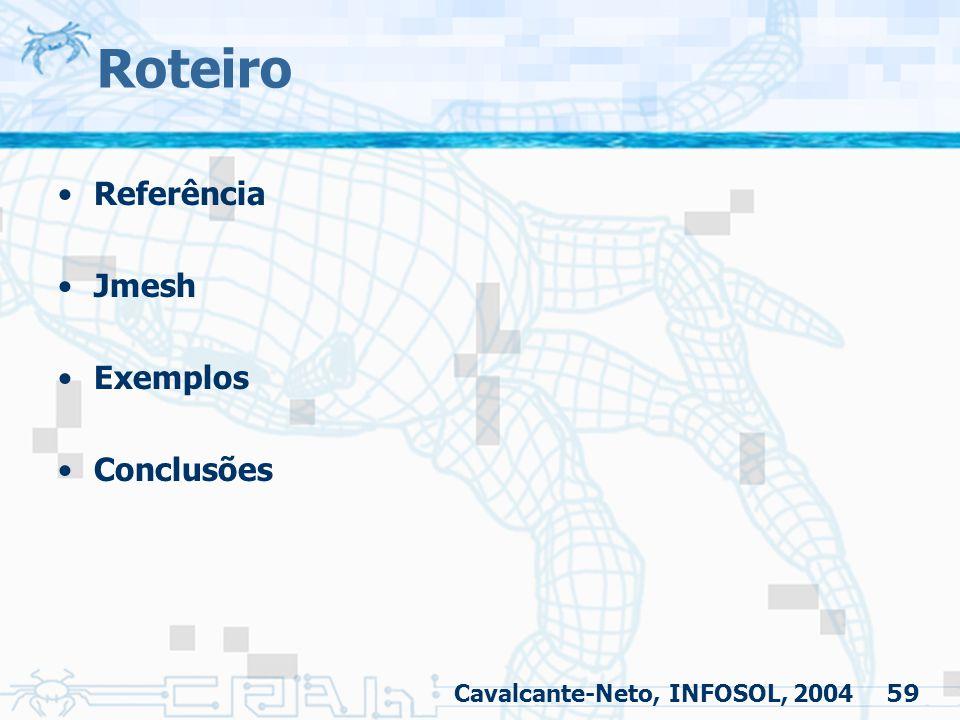 59 Roteiro Referência Jmesh Exemplos Conclusões Cavalcante-Neto, INFOSOL, 2004