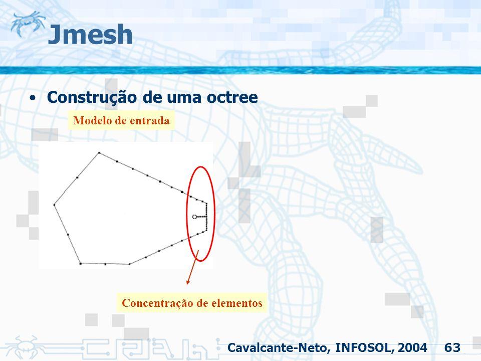 63 Jmesh Cavalcante-Neto, INFOSOL, 2004 Construção de uma octree Modelo de entrada Concentração de elementos