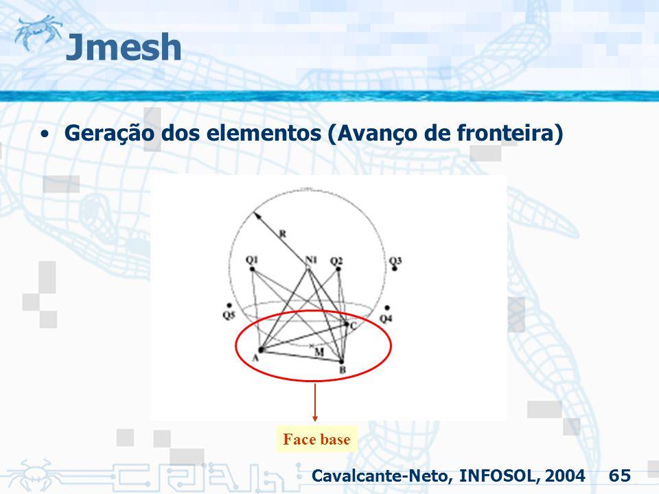 65 Jmesh Geração dos elementos (Avanço de fronteira) Cavalcante-Neto, INFOSOL, 2004 Face base