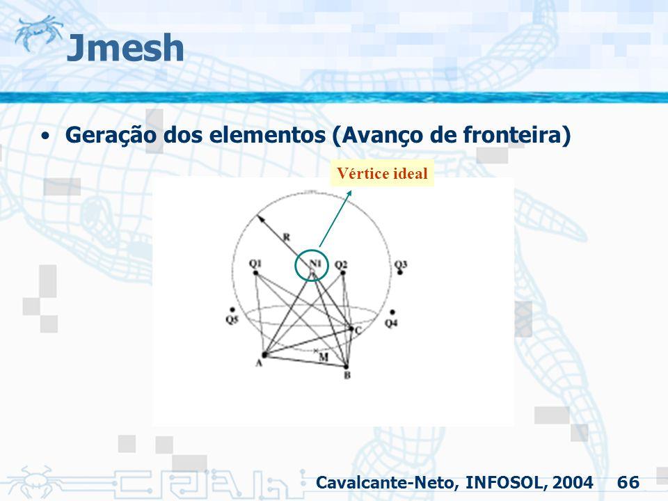 66 Jmesh Geração dos elementos (Avanço de fronteira) Cavalcante-Neto, INFOSOL, 2004 Vértice ideal