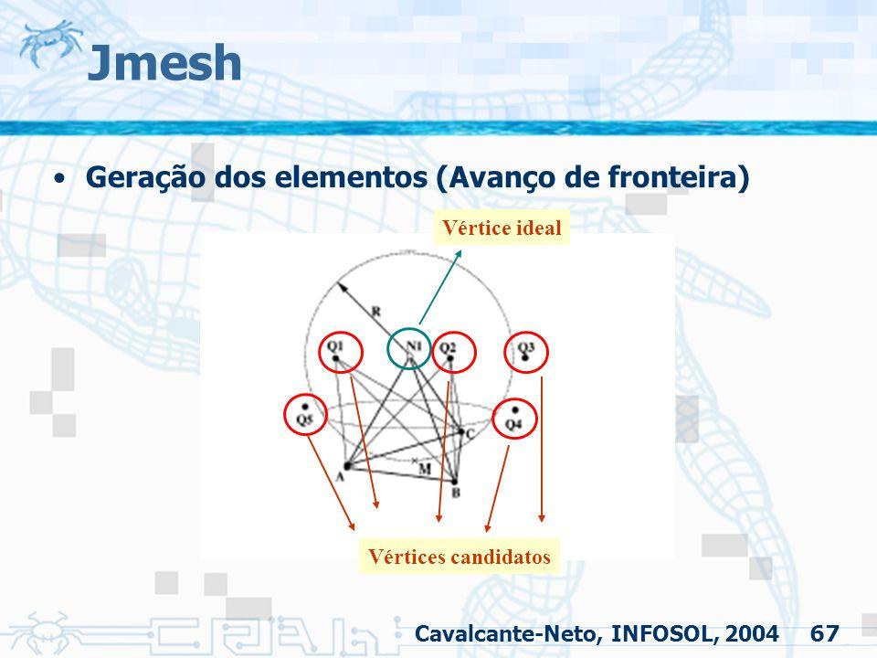 67 Jmesh Geração dos elementos (Avanço de fronteira) Cavalcante-Neto, INFOSOL, 2004 Vértice ideal Vértices candidatos
