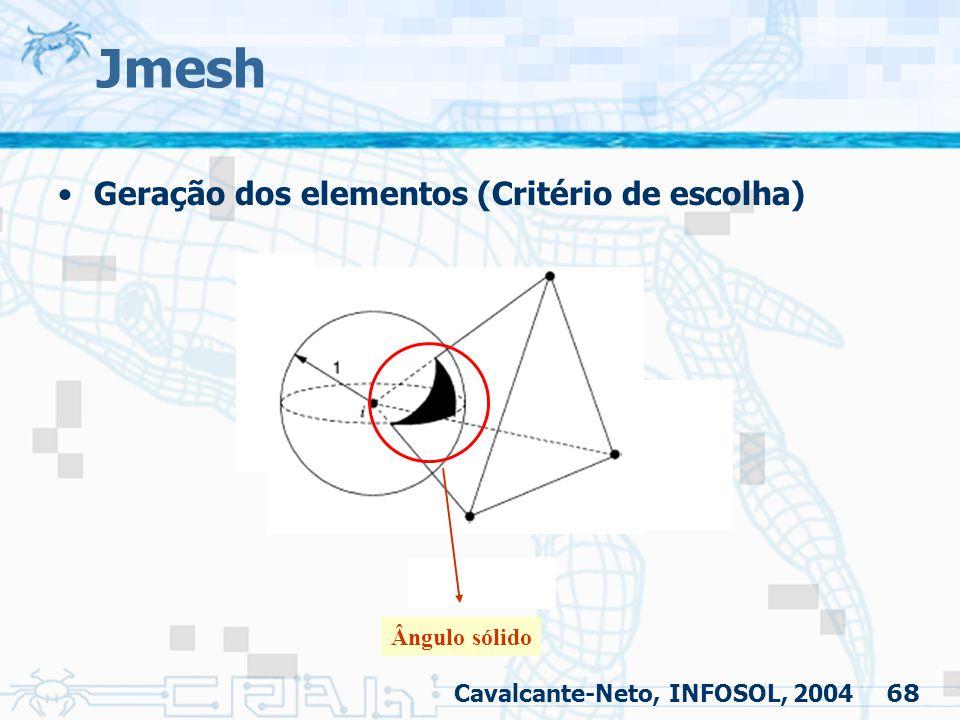 68 Jmesh Geração dos elementos (Critério de escolha) Cavalcante-Neto, INFOSOL, 2004 Ângulo sólido
