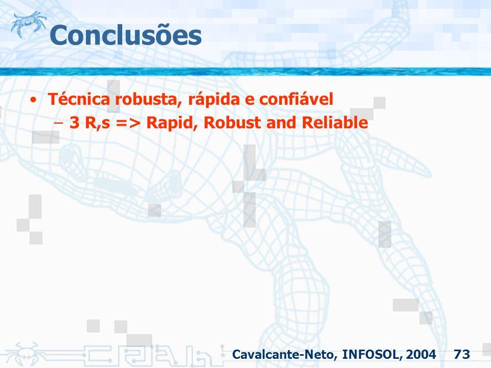 73 Conclusões Técnica robusta, rápida e confiável –3 R,s => Rapid, Robust and Reliable Cavalcante-Neto, INFOSOL, 2004