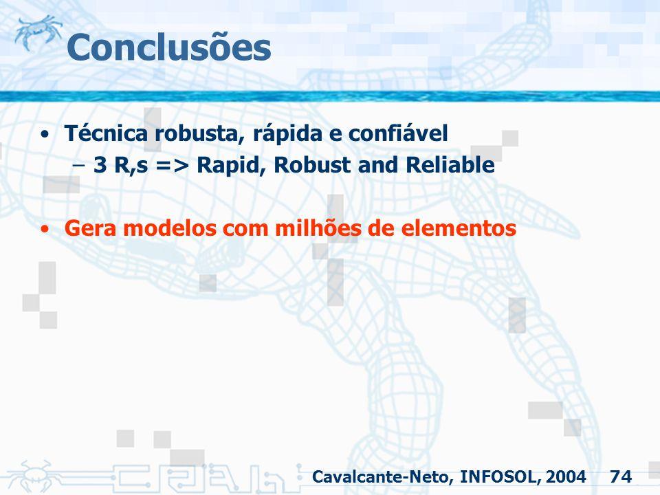 74 Conclusões Técnica robusta, rápida e confiável –3 R,s => Rapid, Robust and Reliable Gera modelos com milhões de elementos Cavalcante-Neto, INFOSOL,