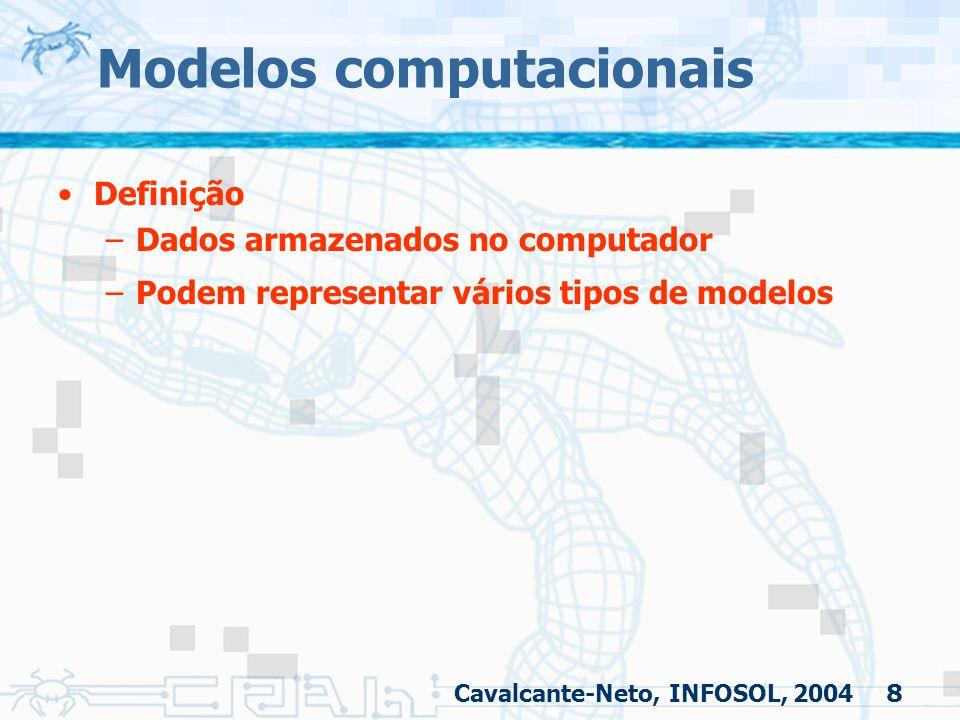 8 Modelos computacionais Definição –Dados armazenados no computador –Podem representar vários tipos de modelos Cavalcante-Neto, INFOSOL, 2004