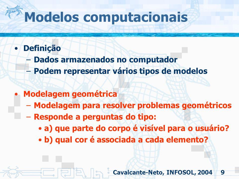 9 Modelos computacionais Definição –Dados armazenados no computador –Podem representar vários tipos de modelos Modelagem geométrica –Modelagem para re
