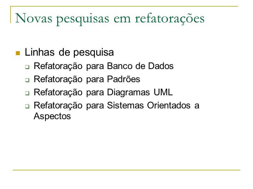 Novas pesquisas em refatorações Linhas de pesquisa  Refatoração para Banco de Dados  Refatoração para Padrões  Refatoração para Diagramas UML  Ref