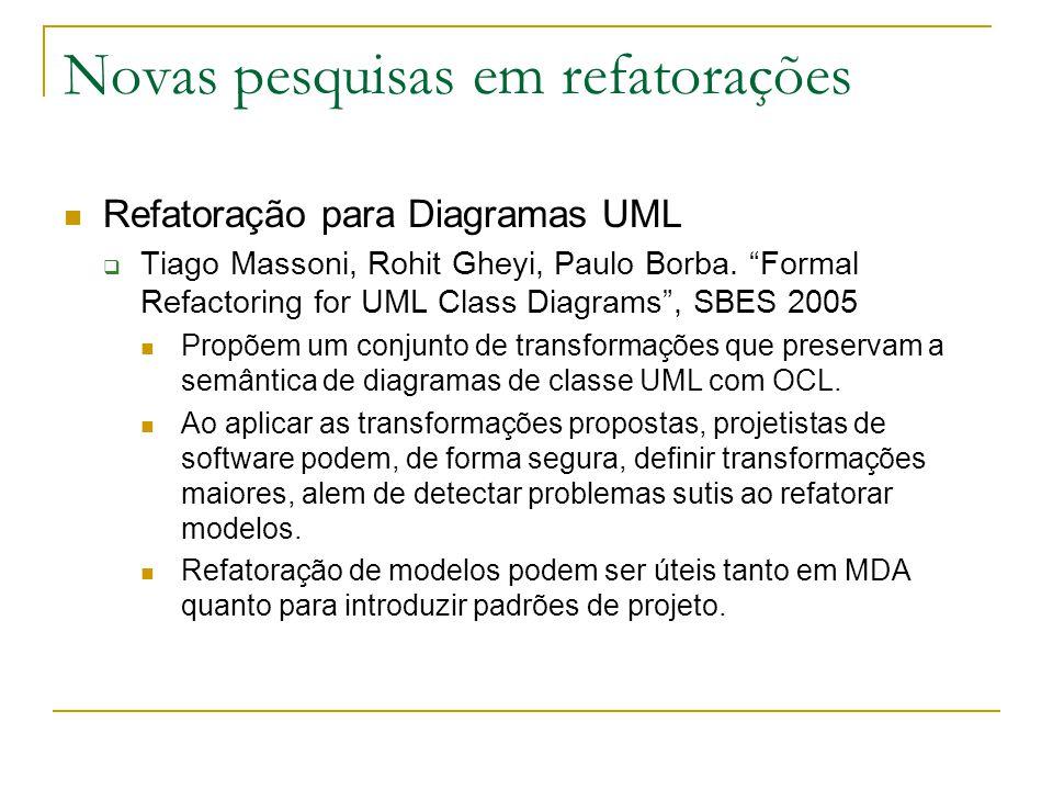 """Novas pesquisas em refatorações Refatoração para Diagramas UML  Tiago Massoni, Rohit Gheyi, Paulo Borba. """"Formal Refactoring for UML Class Diagrams"""","""