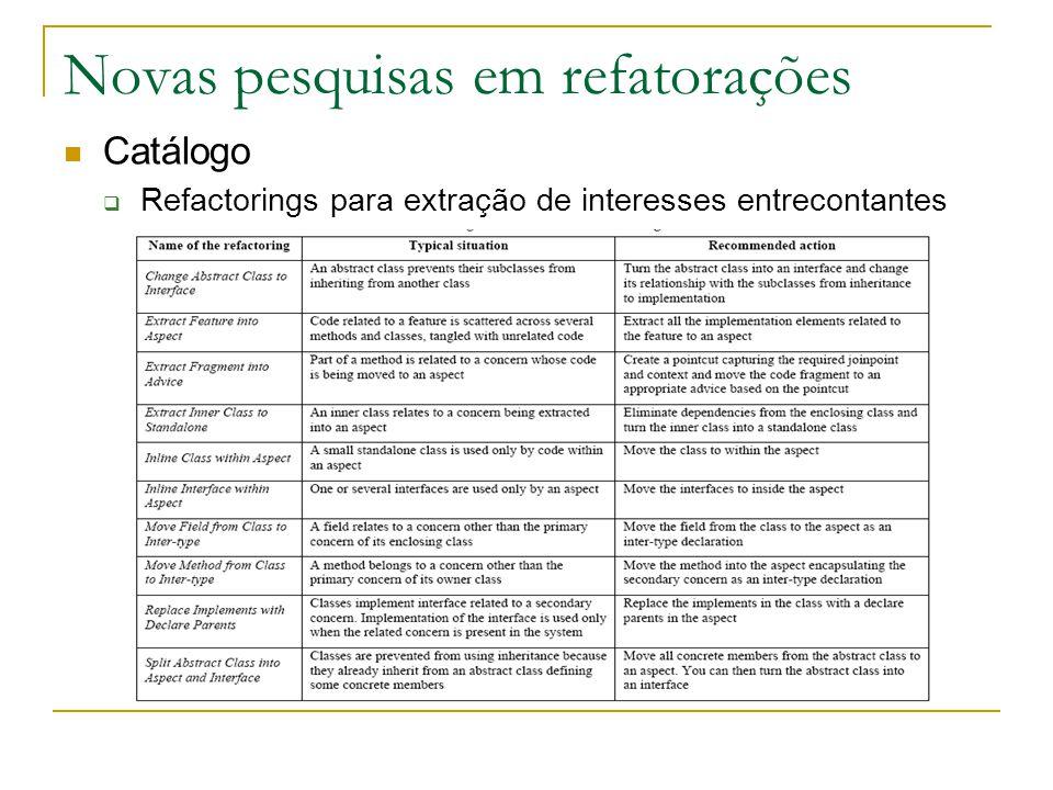 Novas pesquisas em refatorações Catálogo  Refactorings para extração de interesses entrecontantes