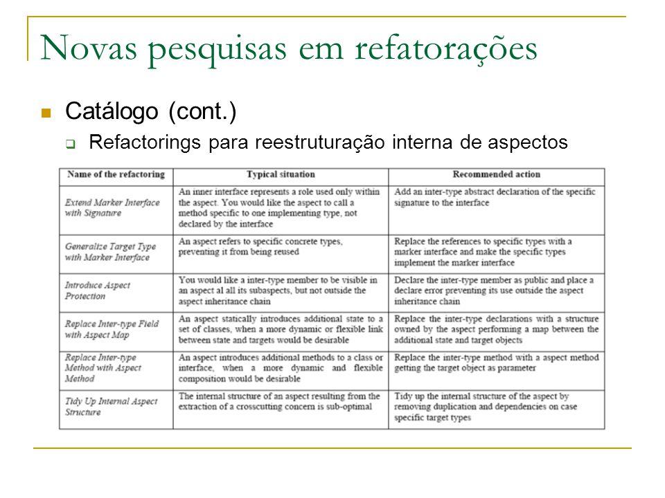 Novas pesquisas em refatorações Catálogo (cont.)  Refactorings para reestruturação interna de aspectos