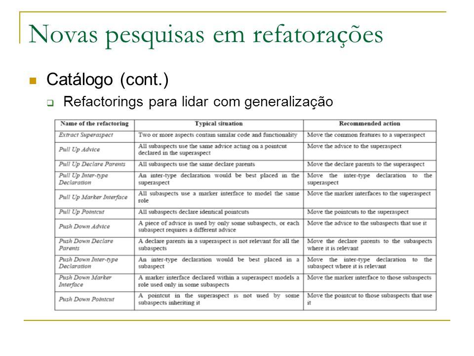 Novas pesquisas em refatorações Catálogo (cont.)  Refactorings para lidar com generalização