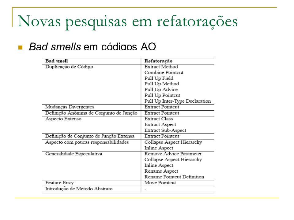 Novas pesquisas em refatorações Bad smells em códigos AO