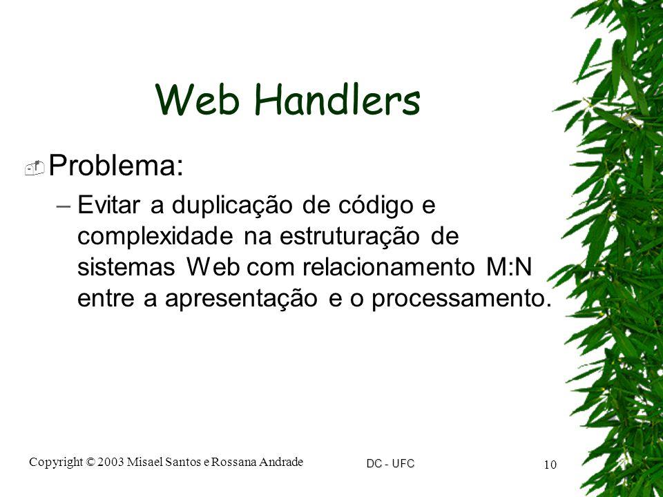 DC - UFC Copyright © 2003 Misael Santos e Rossana Andrade 10 Web Handlers  Problema: –Evitar a duplicação de código e complexidade na estruturação de sistemas Web com relacionamento M:N entre a apresentação e o processamento.