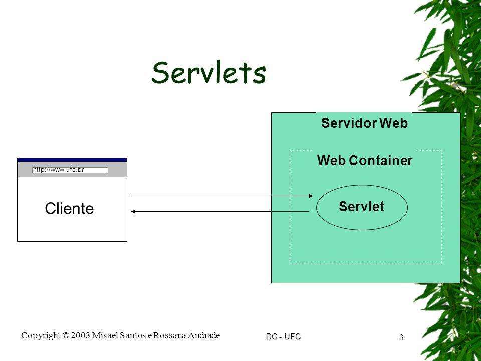DC - UFC Copyright © 2003 Misael Santos e Rossana Andrade 3 Servlets http://www.ufc.br Cliente Servidor Web Web Container Servlet