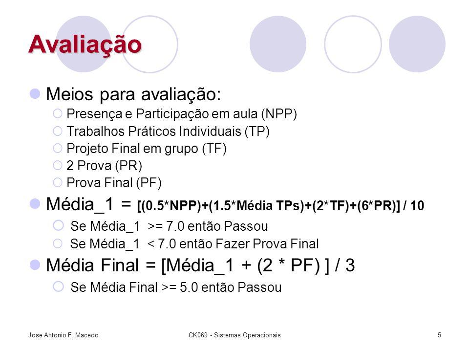 Avaliação Meios para avaliação:  Presença e Participação em aula (NPP)  Trabalhos Práticos Individuais (TP)  Projeto Final em grupo (TF)  2 Prova