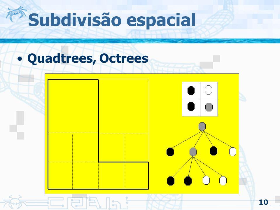 10 Subdivisão espacial Quadtrees, Octrees