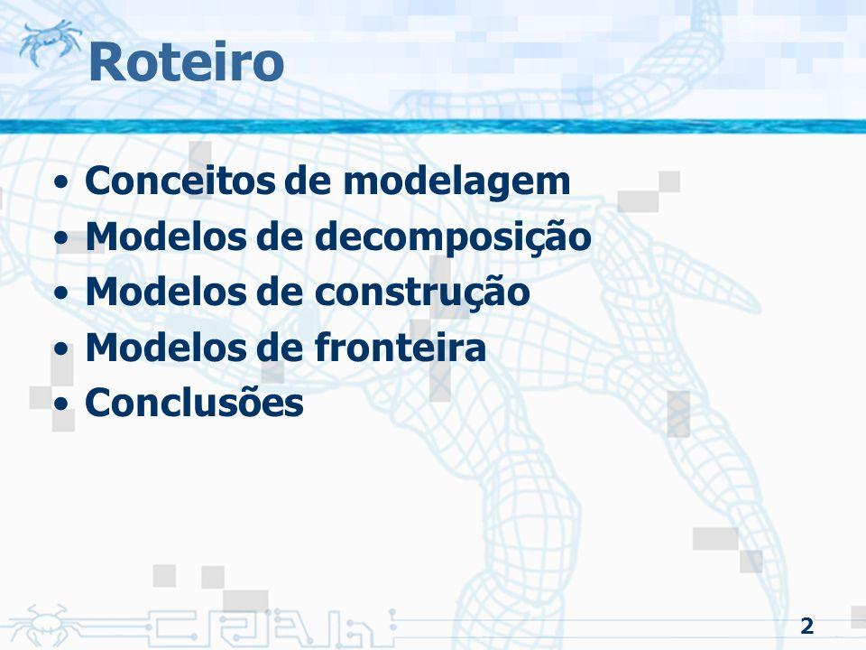 2 Roteiro Conceitos de modelagem Modelos de decomposição Modelos de construção Modelos de fronteira Conclusões