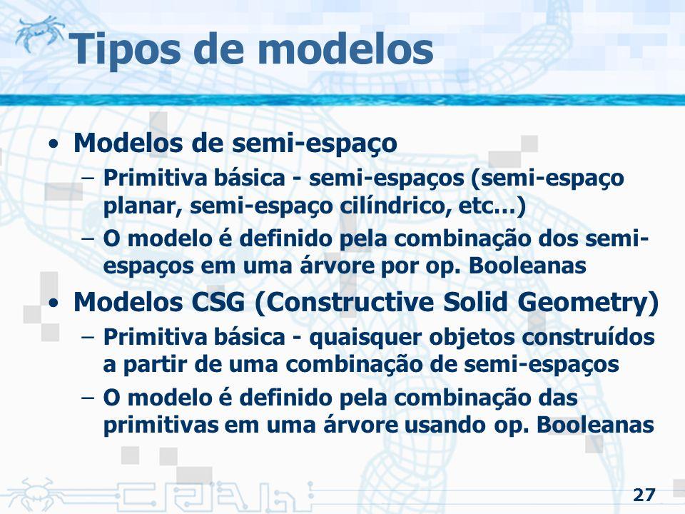 27 Tipos de modelos Modelos de semi-espaço –Primitiva básica - semi-espaços (semi-espaço planar, semi-espaço cilíndrico, etc…) –O modelo é definido pela combinação dos semi- espaços em uma árvore por op.