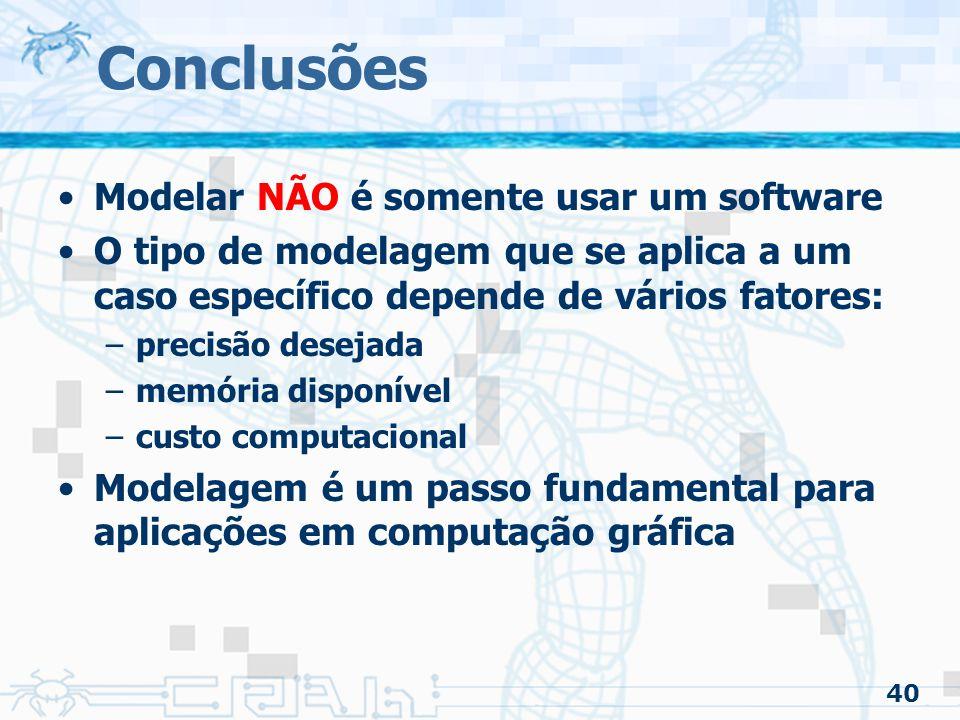 40 Conclusões Modelar NÃO é somente usar um software O tipo de modelagem que se aplica a um caso específico depende de vários fatores: –precisão desejada –memória disponível –custo computacional Modelagem é um passo fundamental para aplicações em computação gráfica