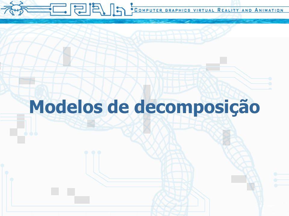 9 Tipos de modelos Enumeração exaustiva –Primitiva básica - cubos de mesmo tamanho –Usadas em renderização volumétrica (voxels), etc… Decomposição celular –Primitiva básica - qualquer célula (triângulo, quadrilátero, etc…) –Usadas em simulações numéricas (MEF), etc...