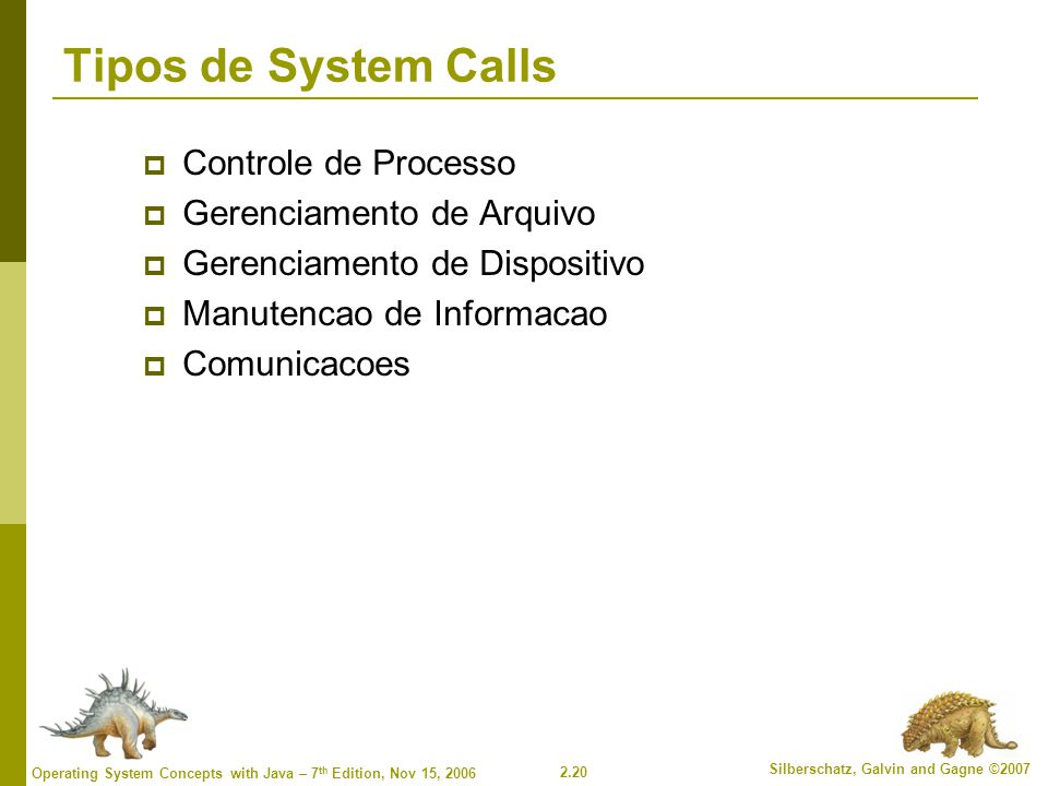 2.20 Silberschatz, Galvin and Gagne ©2007 Operating System Concepts with Java – 7 th Edition, Nov 15, 2006 Tipos de System Calls  Controle de Process
