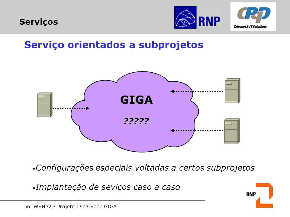 5o. WRNP2 - Projeto IP da Rede GIGA Serviços Serviço orientados a subprojetos Configurações especiais voltadas a certos subprojetos Implantação de sev