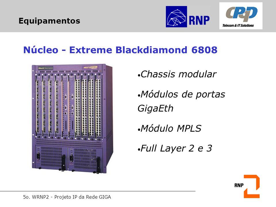 5o. WRNP2 - Projeto IP da Rede GIGA Equipamentos Núcleo - Extreme Blackdiamond 6808 Chassis modular Módulos de portas GigaEth Módulo MPLS Full Layer 2