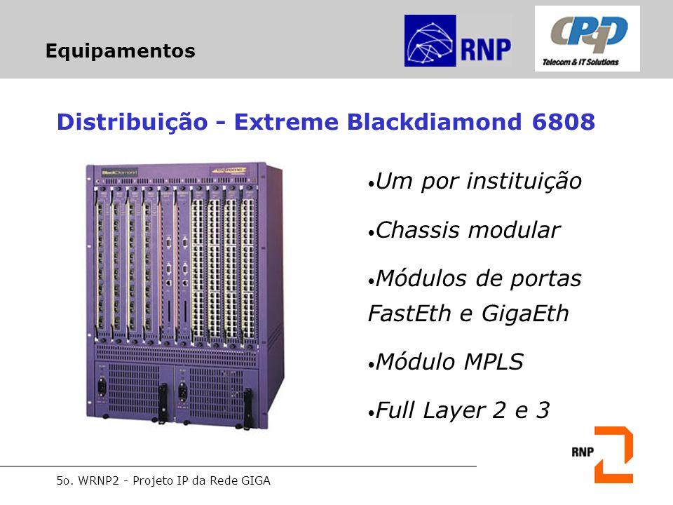 5o. WRNP2 - Projeto IP da Rede GIGA Equipamentos Distribuição - Extreme Blackdiamond 6808 Um por instituição Chassis modular Módulos de portas FastEth