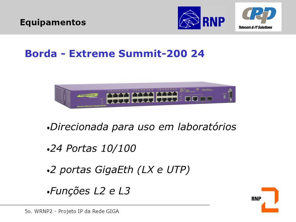 5o. WRNP2 - Projeto IP da Rede GIGA Equipamentos Borda - Extreme Summit-200 24 Direcionada para uso em laboratórios 24 Portas 10/100 2 portas GigaEth
