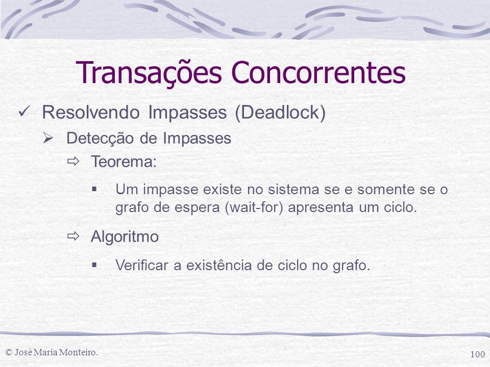 © José Maria Monteiro. 100 Transações Concorrentes Resolvendo Impasses (Deadlock)  Detecção de Impasses  Teorema:  Um impasse existe no sistema se
