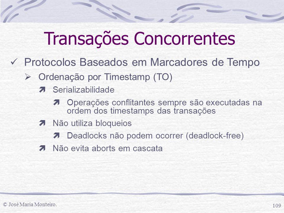 © José Maria Monteiro. 109 Transações Concorrentes Protocolos Baseados em Marcadores de Tempo  Ordenação por Timestamp (TO) ìSerializabilidade ìOpera
