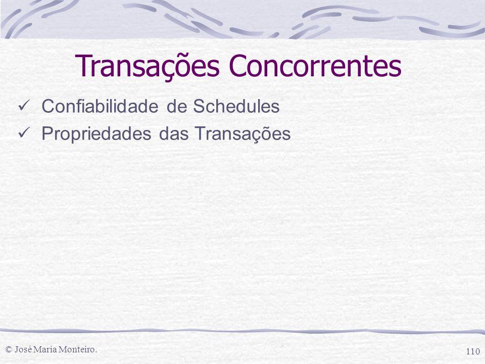 © José Maria Monteiro. 110 Transações Concorrentes Confiabilidade de Schedules Propriedades das Transações
