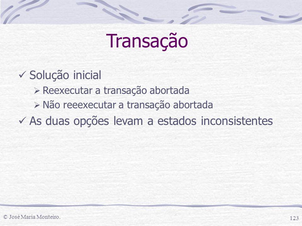 © José Maria Monteiro. 123 Transação Solução inicial  Reexecutar a transação abortada  Não reeexecutar a transação abortada As duas opções levam a e
