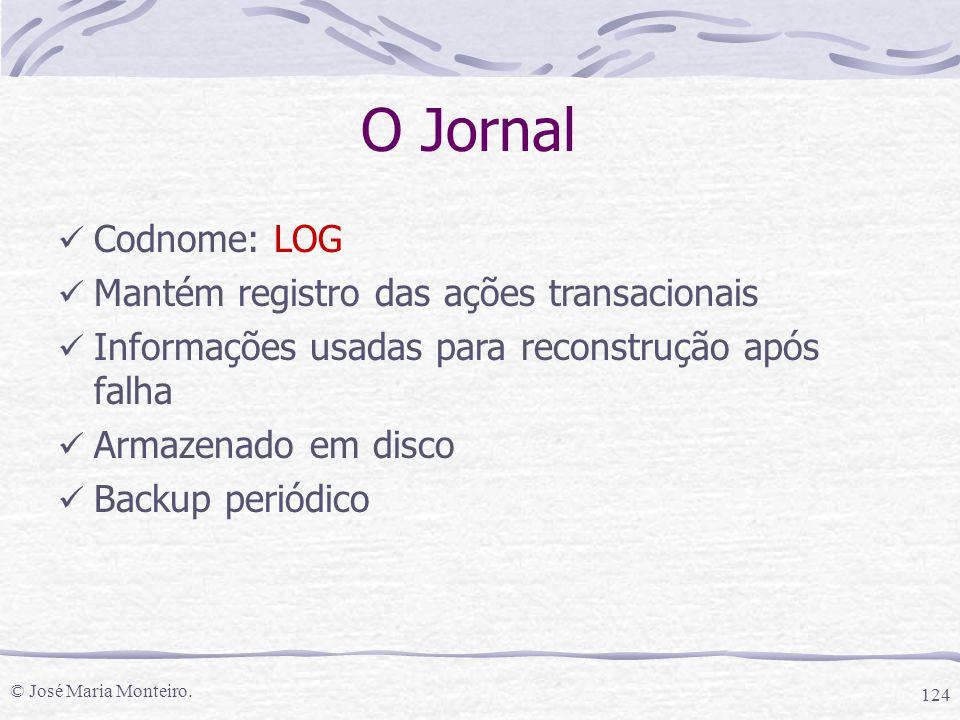 © José Maria Monteiro. 124 O Jornal Codnome: LOG Mantém registro das ações transacionais Informações usadas para reconstrução após falha Armazenado em