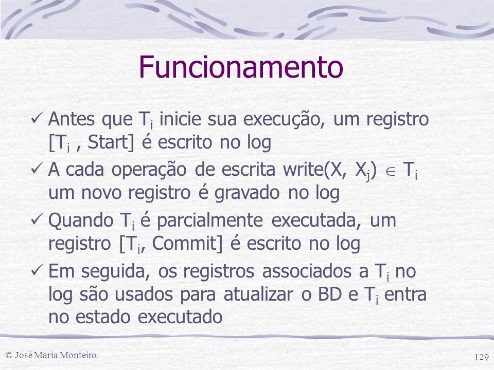 © José Maria Monteiro. 129 Funcionamento Antes que T i inicie sua execução, um registro [T i, Start] é escrito no log A cada operação de escrita write