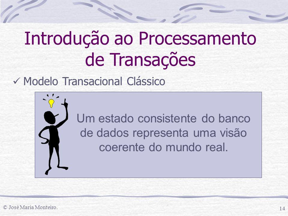 © José Maria Monteiro. 14 Introdução ao Processamento de Transações Modelo Transacional Clássico Um estado consistente do banco de dados representa um